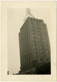 The upper stories of the Bellingham Hotel