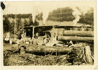 Logging truck and workers in front of steam-powered saw mill
