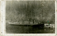 "Vessel ""The Prentice"" at shore of lake."