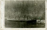 """Vessel """"The Prentice"""" at shore of lake."""