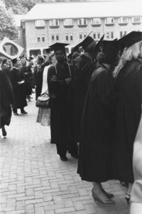 1989 Commencement Ceremonies: Students Line Up