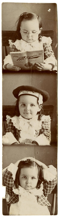 One of three small photographs, attached together, of a little girl wearing a plad dress with ruffles