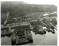 Aerial view of Pacific American Fisheries looking south over Edgemoor  in Bellingham, Washington