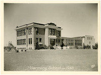 Harmony School with gymnasium wing and playground slide