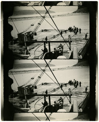 Multiple prints of image of group of people standing on dock with scow and crane or dredge tied to dock