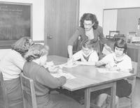 1950 Fifth Grade Girls Modeling Clay with Mrs. Beltz, Student Teacher
