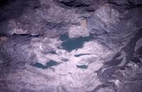 Colored ponds on debris flow.