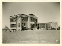 Harmony School with gymnasium wing and playground slide