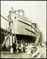 The launching of an unidentified ship perhaps from the Pacific American Fisheries (PAF) Shipyard at Commercial Point