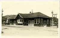 Railway depot with interurban railroad tracks in foreground, Burlington