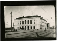 Exterior of the two-story Federal building with arched windows, downtown Bellingham, WA, shortly after completion