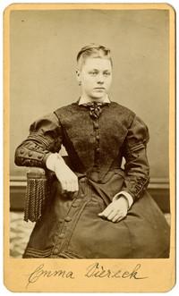 Formal studio portrait of Emma Diereck