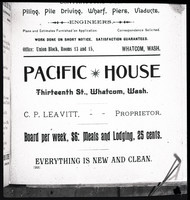 """A photograph negative of a page from a Polk City Directory (p. 22) advertising """"Pacific House at Thirteenth St., Whatcom, Wash. - C.P. Leavitt, -- Proprietor. Board per week, $6: Meals and Lodging, 25 cents. Everything Is New And Clean."""""""