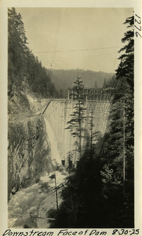 Lower Baker River dam construction 1925-08-30 Downstream Face of Dam