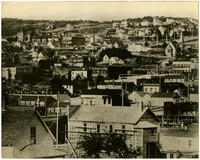 View of the rooftops of Fairhaven, south Bellingham, Washington