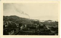 Panoramic view of downtown Bellingham, looking towards Bellingham Bay