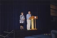 2007 Reunion--WWU President Karen Morse and Jim Hildebrand Onstage at the Banquet