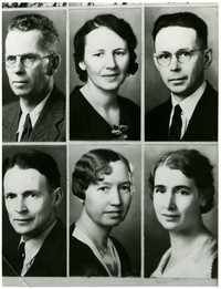 A composite of six formal portraits of unidentified adults