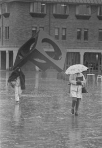 1976 Students in Red Square in Rain