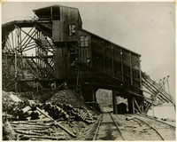 Blue Canyon Mine coal bunker strides atop two railway lines along shore of Lake Whatcom