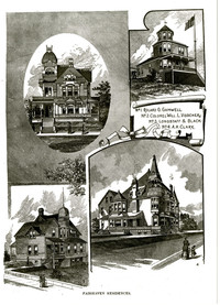 Front exterior view of architectural drawing of the four-story victorian Gamwell House, Bellingham, WA