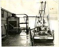"""Stern view of fishing vessel """"St. Michael"""" of Bellingham at dock with her nets rolled on the drum, and a long pipe extending from deck to machine on dock"""