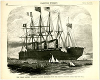 """Page from Harper's Weekly July 24, 1869, issue with print of woodcut of """"The 'Great Eastern' steamship"""""""