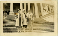 A man and two women posed at a Washington, D. C., location, probably the Capitol steps.