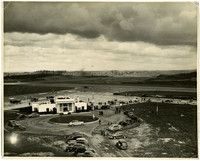 Aerial view of original United Airlines terminal, designed by F. Stanley Piper, at Bellingham Airport.