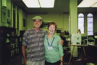 2007 Reunion--Lynn (Albright) De Wees with friend in Special Collections
