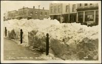 City street with snow in Waupun, Wisonsin