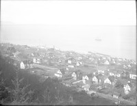 View looking southwest from Sehome Hill neighborhood from above (east of) Indian Street and between Oak and Ivy Streets