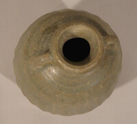 Sawankhalok jar, ovoid body with loop handles at neck, grooved body