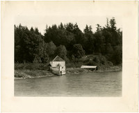 Block house on shore at English Camp, San Juan Island.