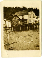 Wharf-side business district of LaConner at low tide