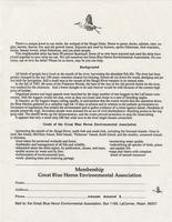 Great Blue Heron Environmental Association Membership letter