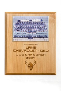 Football Plaque: Lane Chevrolet-GEO, WWU Car Coach, 2004