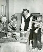 1949 Sharon Wallace, Student Teacher, With Students