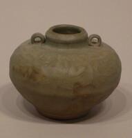 Jar with two loop handles at neck, incised lotus band