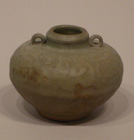 Jar with two loop handles at neck, incised lotus band