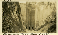 Lower Baker River dam construction 1925-08-26 Downstream Face of Dam