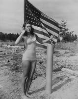 1946 Student in Swim Suit with American Flag