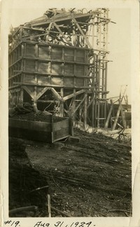 Lower Baker River dam construction 1924-08-31 Railroad, shows intake