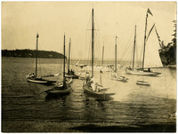 A group of small sailing yachts moored in shallow waters of Chuckanut Bay