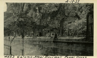 Lower Baker River dam construction 1925-04-18 Column Steel in river wall Power House