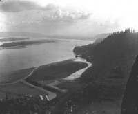 Aerial view across fields towards Columbia River near Corbett, Oregon