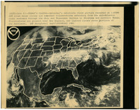Photograph of a NOAA satellite weather map of the United States showing weather patterns for June 6, 1981