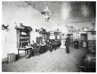 Six men and a boy in a room with several deer/elk heads and other stuffed animals and birds on the walls and on high shelves