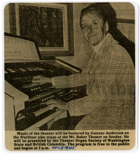 Gunnar Anderson seated at the organ at Mt. Baker Theater.
