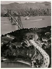 Aerial view of San Francisco - Oakland Bay Bridge at Yerba Buena Island